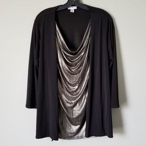NWOT Metallic Scoop Blouse